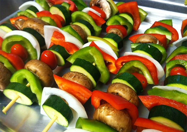 best use of all those summer vegetables... skewered grilled veggies
