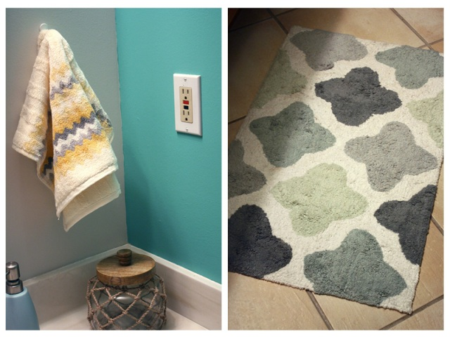 Beach Bathroom Makeover Towels and Rug