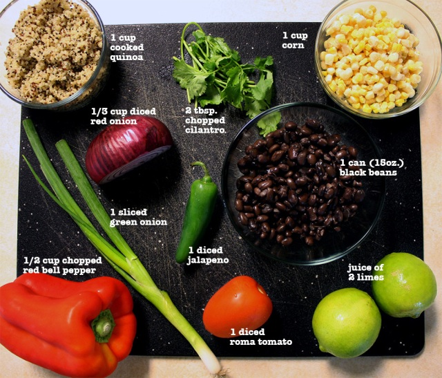 Southwest Quinoa and Black Bean Salad Ingredients