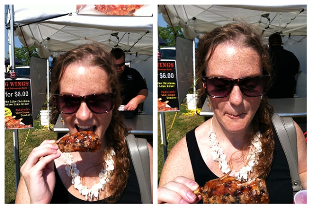 eating pig wings