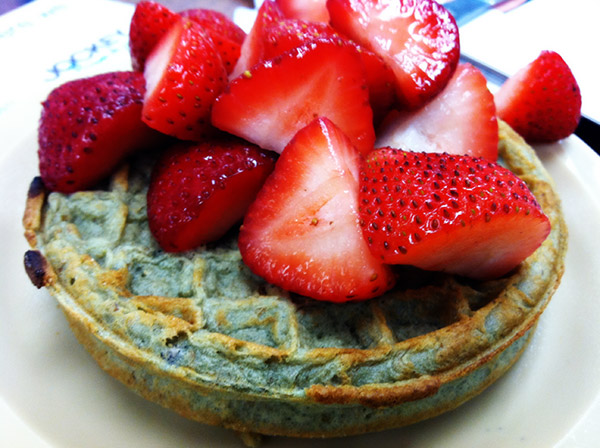 Kashi Blueberry Waffles with Strawberries