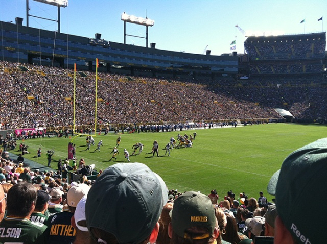 Lions-Packers game at Lambeau field.