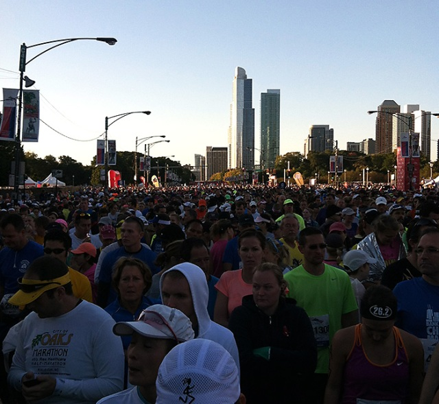 Waiting with thousands of other runners to start.