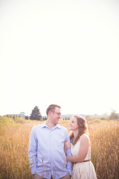 field prairie engagement photo