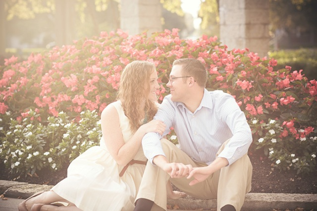 vintage romantic engagement photo in the park