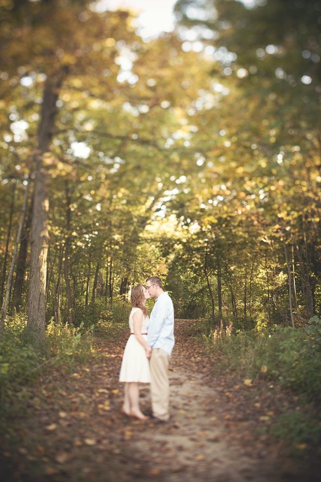 vintage romantic forest engagement photo