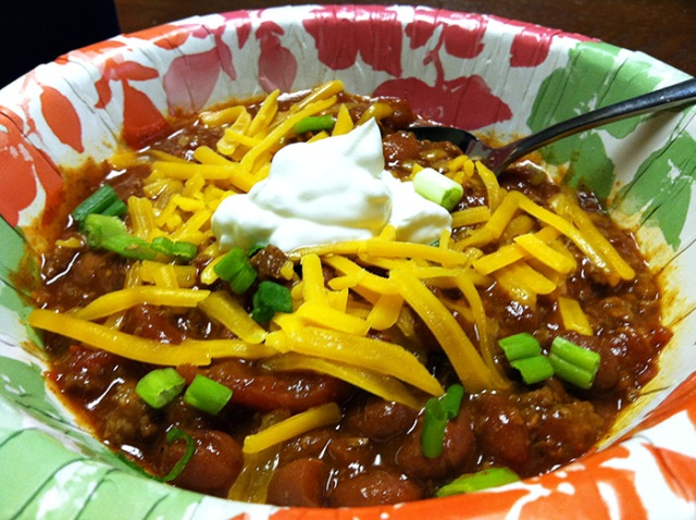 homemade chili, football Sunday