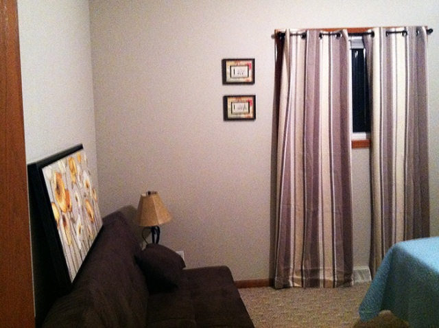 Sneak peek of our guest room. Neutral and comfortable.