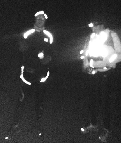 Check out that reflective gear. Just before Marathon Man took off along the marathon route.