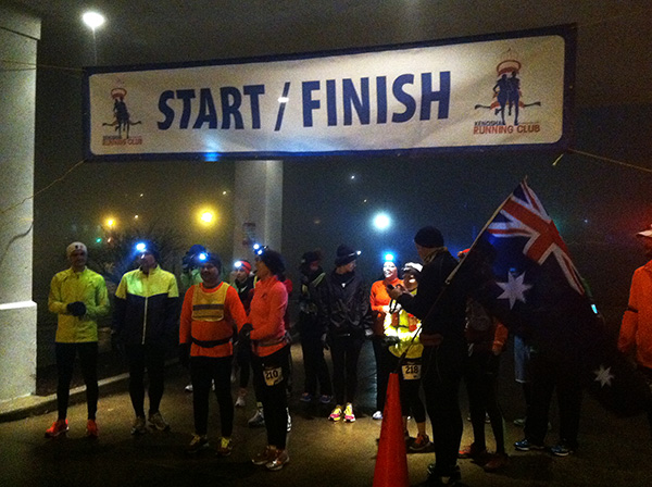 Start & Finish Line for the Frosty 5 Challenge with Marathon Man.