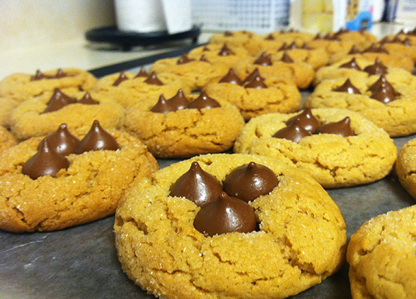 Peanut Butter Blossoms with mini hershey kisses