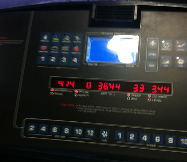 Running on the dreadmill, I mean, treadmill...