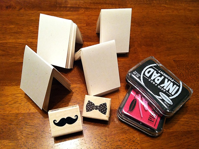 DIY place card table settings with mustache and bow stamps