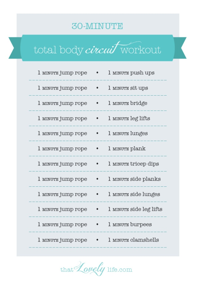 at home circuit workout with jump rope, jumping jacks, burpees, sit ups, pushups and more