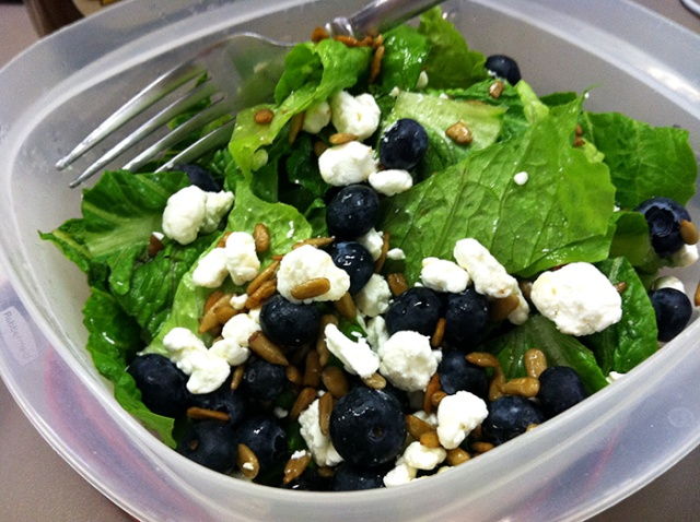 blueberry, goat cheese and sunflower seeds salad
