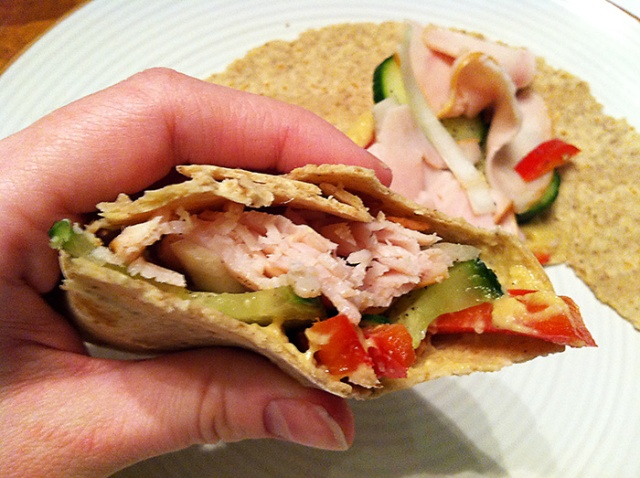 turkey wrap with veggies