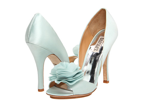 Badgley Mischka Randall wedding shoes in mint blue