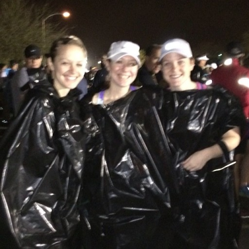 garbage bags before a rainy race